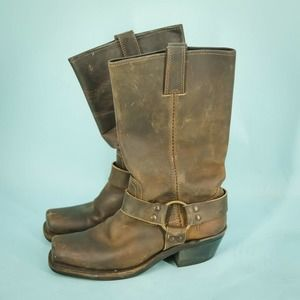 Frye Harness 7 Frye Brown Harness Leather Boots